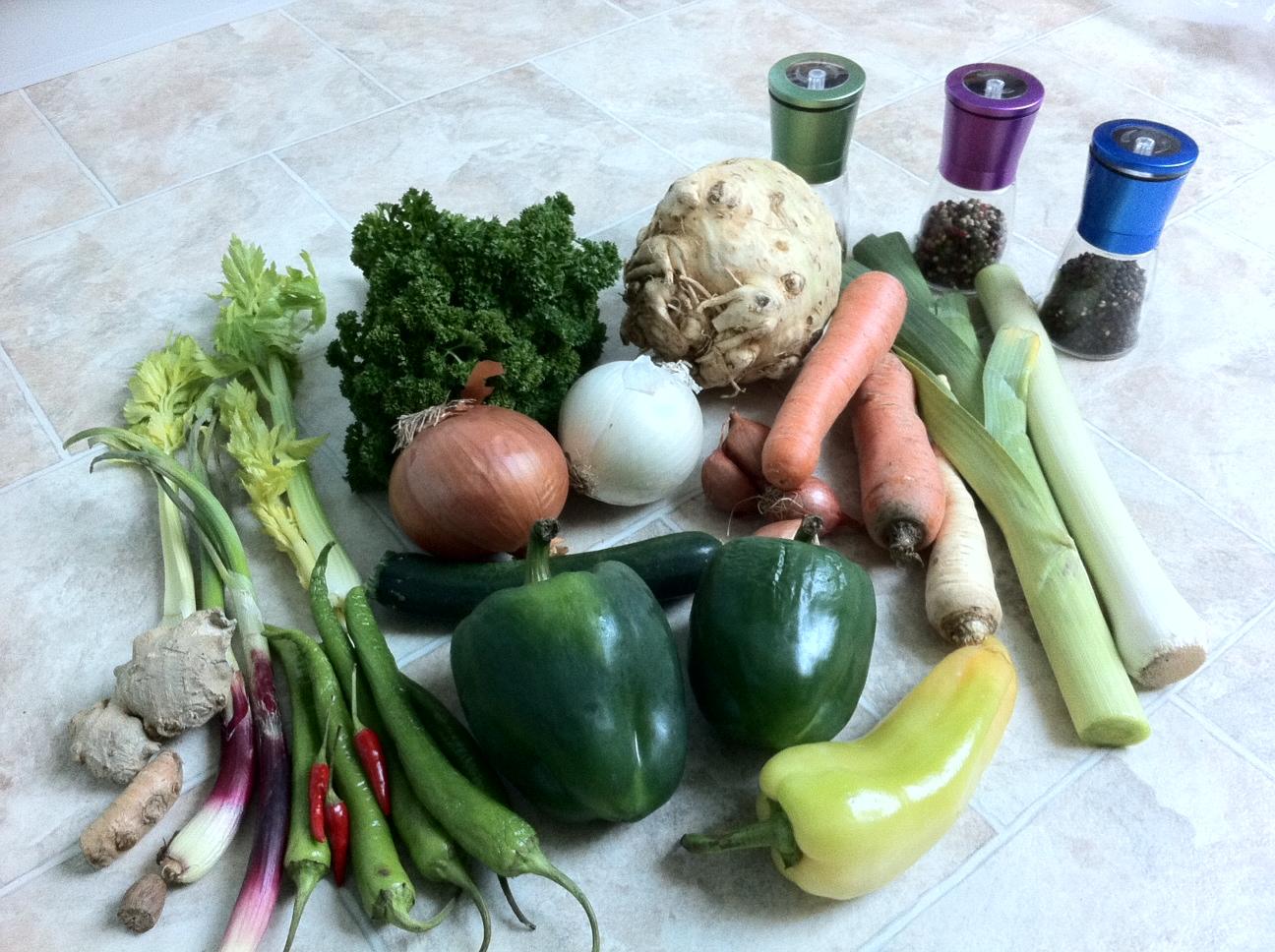 Die Zutaten für das Gemüse-Gewürz