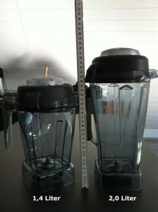 Vitamix-Mixbehälter Höhenvergleich