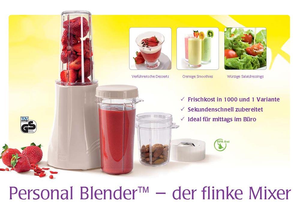 "der flinke Mixer ""Personal Blender"" jetzt in BPA-freier Tritan-Ausführung bei perfektegesundheit.de"