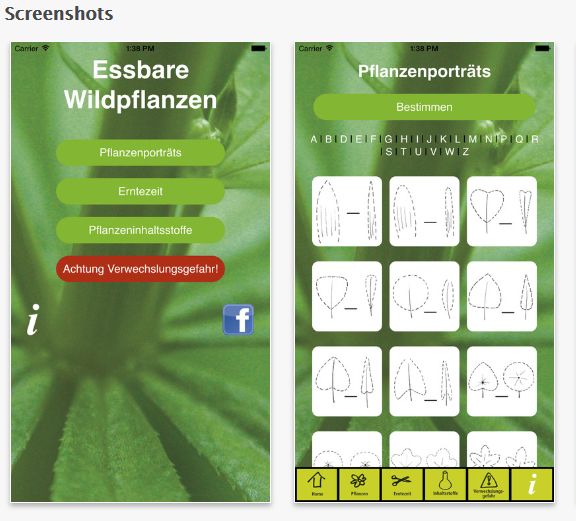 grüne Smoothies Apps - Essbare Wildpflanzen Screenshot