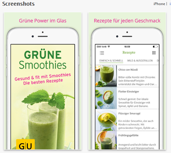 grüne Smoothies Apps - GU Verlag Screenshot