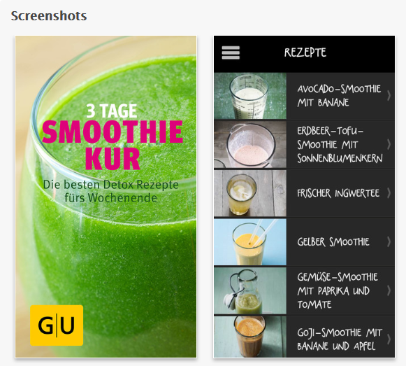 grüne Smoothies Apps - GU Verlag Smoothie-Kur Screenshot