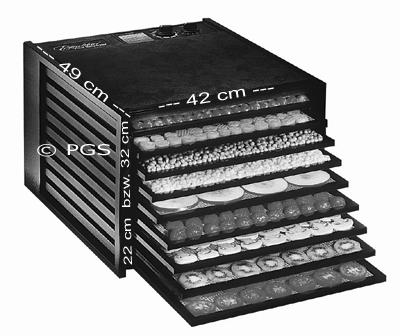 Abmessungen Excalibur Dörrgerät mit 5 Einschüben