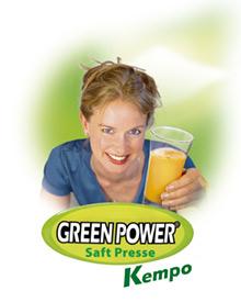 Green Power Kempo Entsafter (Frau mit Saftglas)