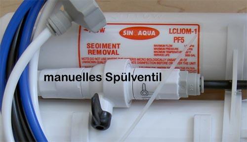 Unkehrosmose - Aqua Start Mobile - Manuelles Spülventil