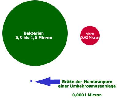 Umkehrosmose - Porengrösse der Membran im Vergleich zu Viren und Bakterien