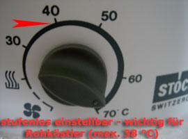 Der Stöckli Dörrautomat ist besonders für Rohköstler geeignet, da die Temperatur stufenlos eingestellt werden kann.