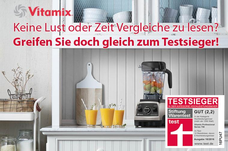 Testsieger Hochleistungsmixer laut Stiftung Warentest ist der Vitamix Pro 750