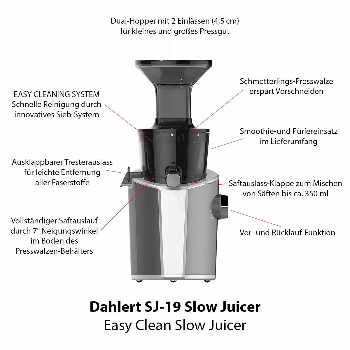 Features des Dahlert Slow Juicer SJ-19