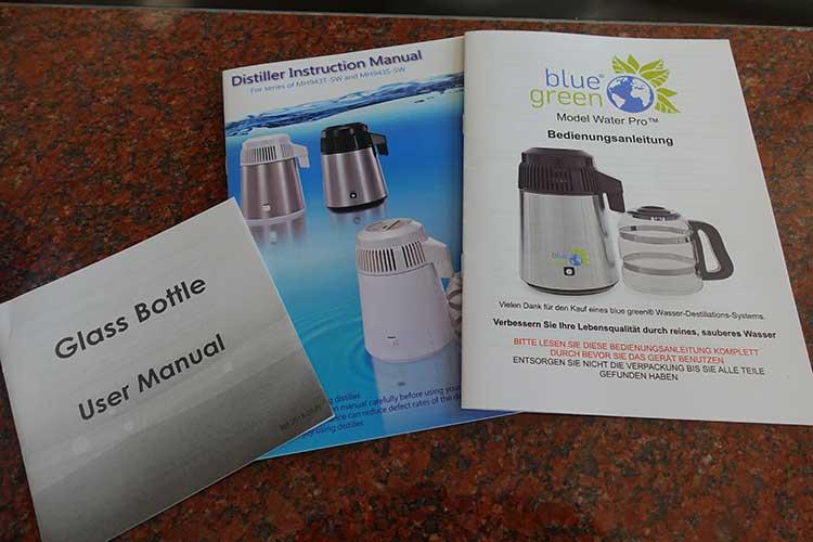 blue green Wasserdestilliergerät Water Pro Anleitungen