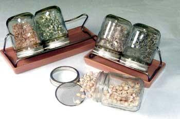 Eschenfelder Sprossensystem mit 3 Gläsern, Abtropfgestell und Schale braun