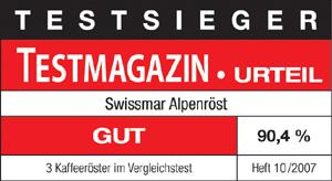 ALPENRÖST Kaffeeröster von Swissmar Testsieger im Heft 10/2007